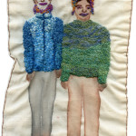 """""""F Train Couple, New Year's Day 2014."""" 2014. Watercolor and embroidery on fabric. 10.5"""" x 6.5""""."""