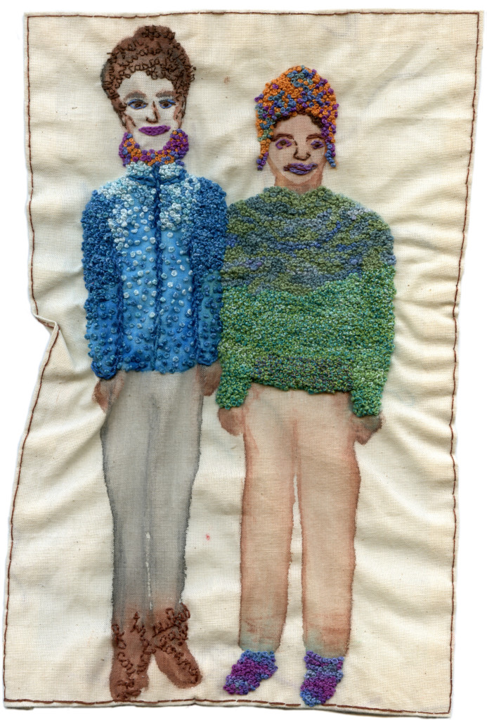 """F Train Couple, New Year's Day 2014."" 2014. Watercolor and embroidery on fabric. 10.5"" x 6.5""."