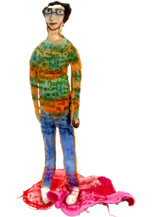 """He Stepped in a Pool of Red Paint."" 2014. Sculpture with paint on fabric, hand stitching, fabric sculpting and embroidery. 8"" x 5"" x 4""."