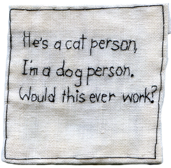 """Cats Versus Dogs."" 2012. Embroidery on fabric. 3.25"" x 3.25""."
