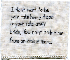 """Take Home Bride."" 2012. Embroidery on antique textile. 3.5"" x 4""."