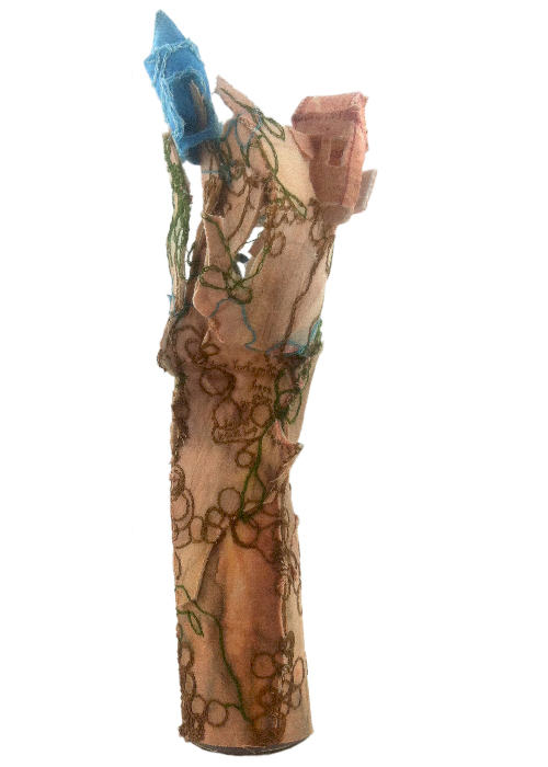 """""""Brooklyn Full of Leaves, Treehouses."""" 2014. Sculpture with paint, fabric, stiffening, stuffing. 12.5"""" x 4"""" x 3.5""""."""