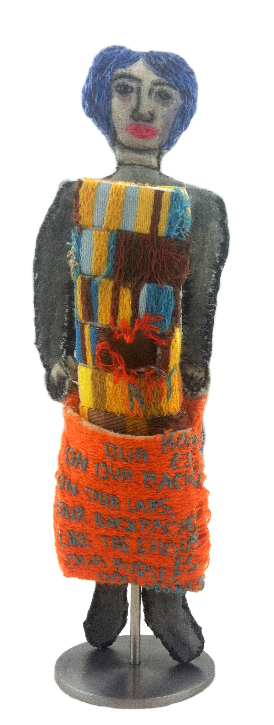 """We Carry Our Homes on Our Backs, Our Laps."" 2014. Sculpture with fabric, paint, stuffing, stiffening and embroidery. 8.5"" x 2"" x 2.5"""