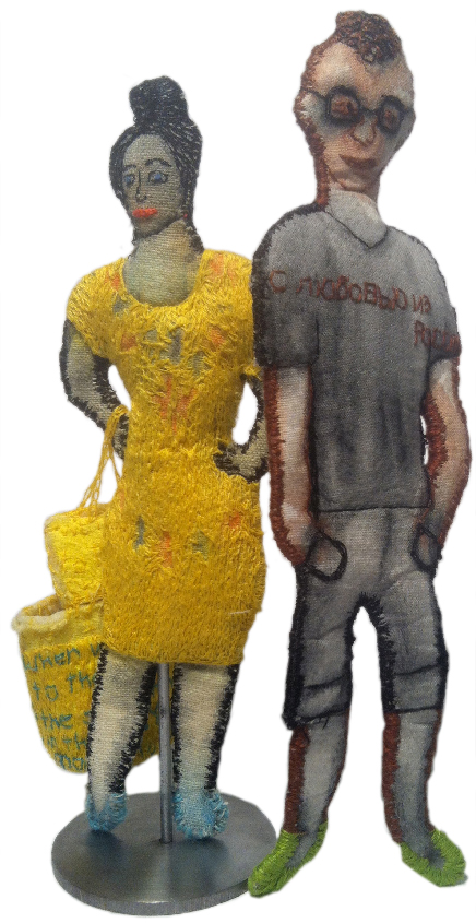 """""""From Russia to Brooklyn to Russia."""" 2014. Sculptures with paint on fabric, stiffener, stuffing, embroidery. 8.5"""" x 5"""" x 2""""."""