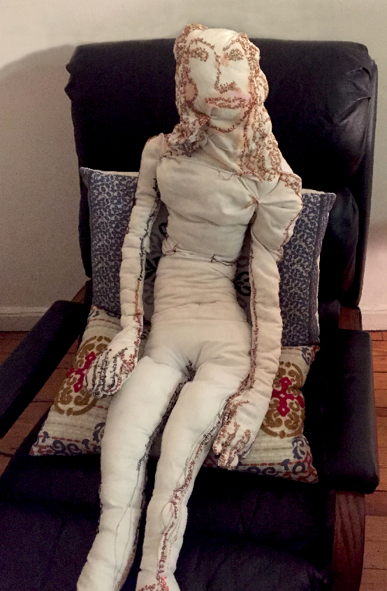 """""""Selfie en repose."""" 2014. Paint and embroidery on fabric with stuffing, sewing."""