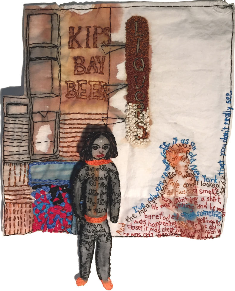 """I've always remembered it as an old New York that you don't really see.."" 2015. Embroidered painting on fabric with embroidered sculpture (doll). Flat painting: 11.5"" x 11"". Doll: 8.5"" x 2.75"" x 1""."