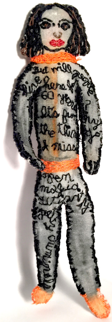 Native New Yorker tells it like it is...via stop motion. 2015. Sculpture with paint and embroidery on fabric.