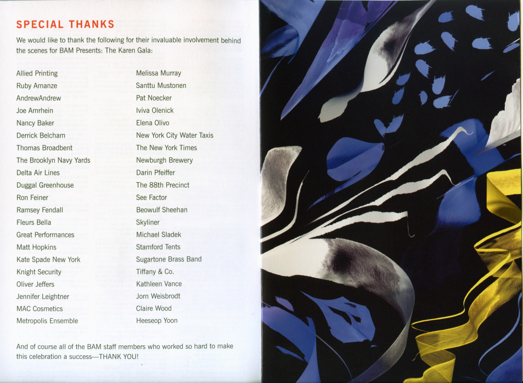 Program Acknowledgments, The Karen Gala, BAM, 4/28/2015