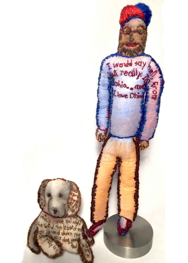 "Ohioan Becomes Brooklyn Dog Walker. 2014-15. Watercolor on fabric with stiffener, stuffing, embroidery. 8.75"" x 5.5"" x 2""."