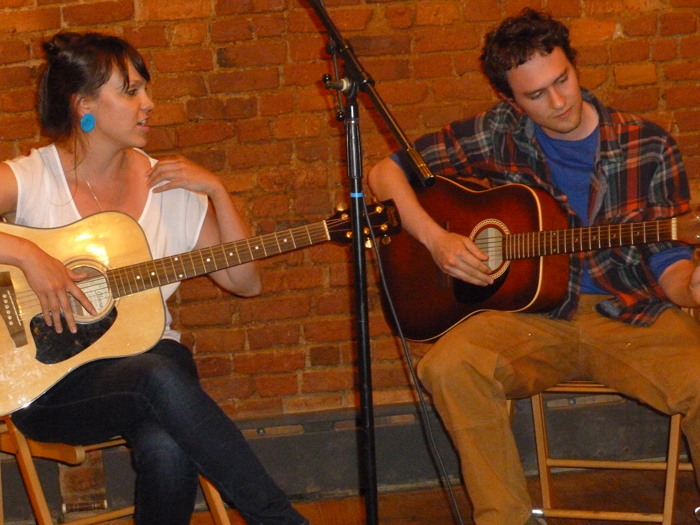 Cristina Martin and Jared Green perform improvised and rehearsed music for Embroidery Slam.