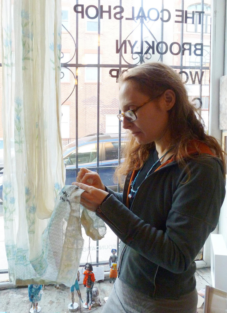 On the final day pf my BWG/WGAF residency, I invited local and not so local poets, friends, neighbors and storytellers to share Brooklyn memories as I stitched select phrases, later giving them their embroidered words. Warm, fall afternoon light was a perfect companion.