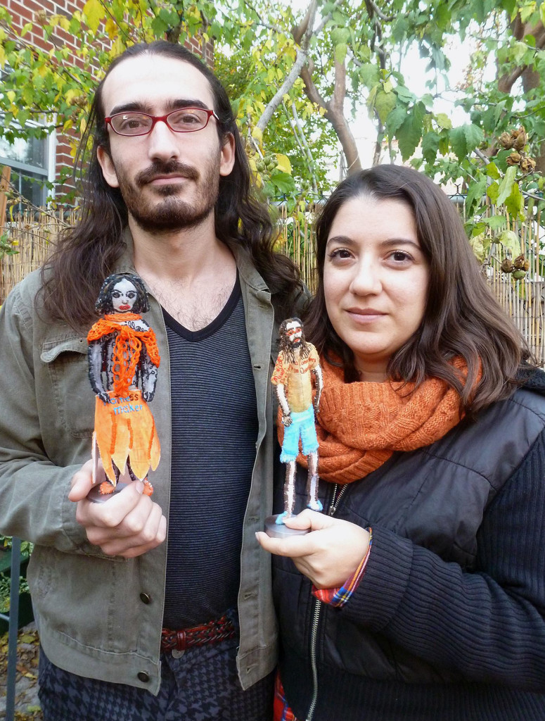 In the garden of Brooklyn Workshop Gallery, guests hold my Native/Immigrant City sculptures made in their likenesses.