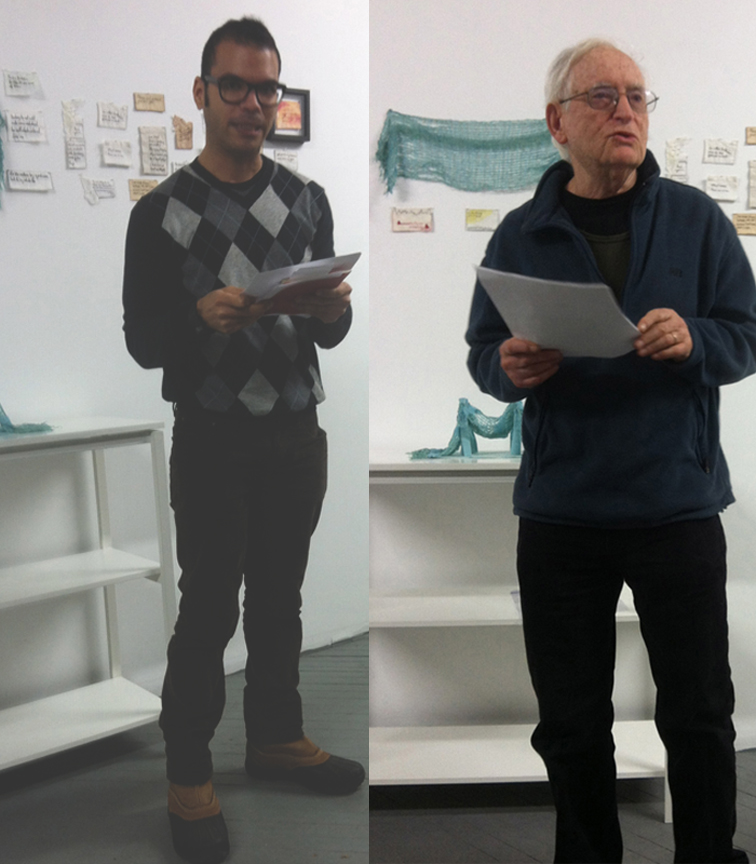 Octavio Gonzalez and Monte Olenick recite poetry at final Embroidered Poetry Reading for @EmbroideryPoems. Hosted by Weaving Hand.