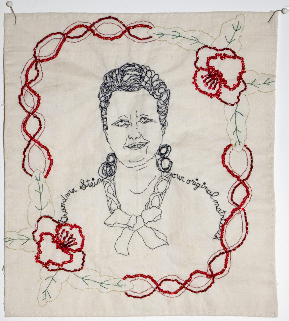 "Grandma Stein, the original matriarch (or self portrait as the original matriarch). 2016. Embroidery and beading on fabric. Flower motif is from Grandma's antique linen tablecloth.  9""x8""."