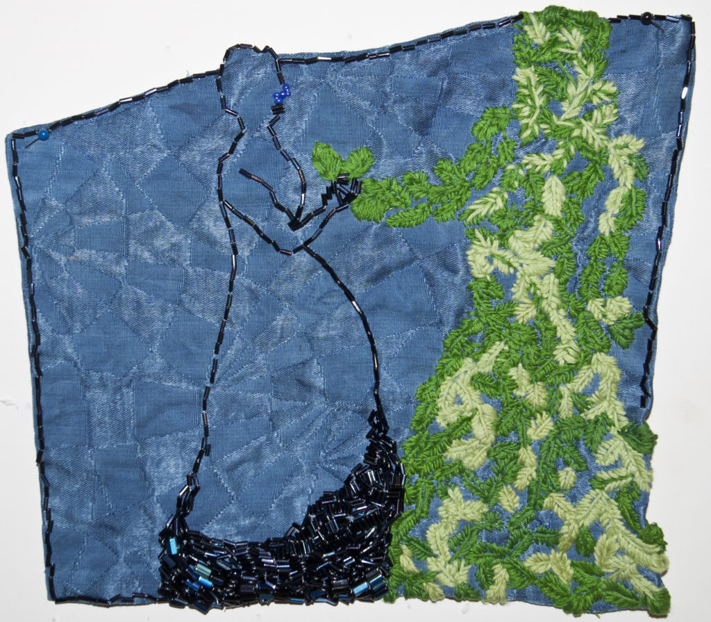 2016. Indigo dyed fabric, beading, embroidery. 9.25 x 9.5 x 1""