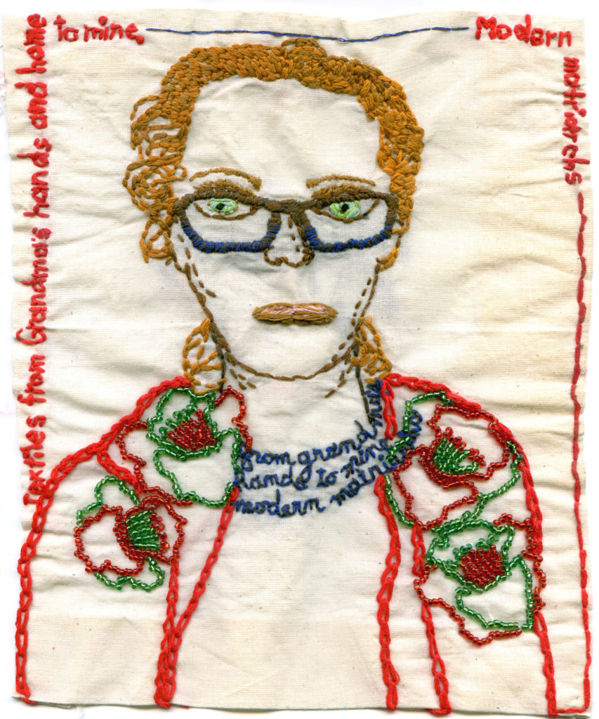 """2016. Embroidery, beading on fabric. Flowers are from Grandma Helen's 1960s linen tablecloth. 9.5 x 7.5"""""""
