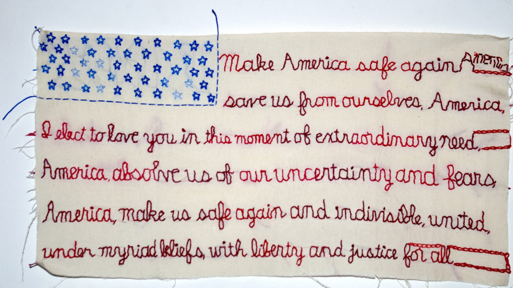 """Incantation. 2016. Embroidery, beading on fabric. 11""""x21"""".  For ACLU benefit, Unbroken — artists respond to 2016 presidential election."""